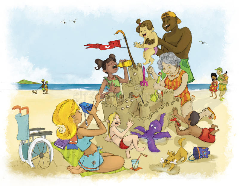 Family summer. A family is having fun building a sand castle on the beach stock illustration