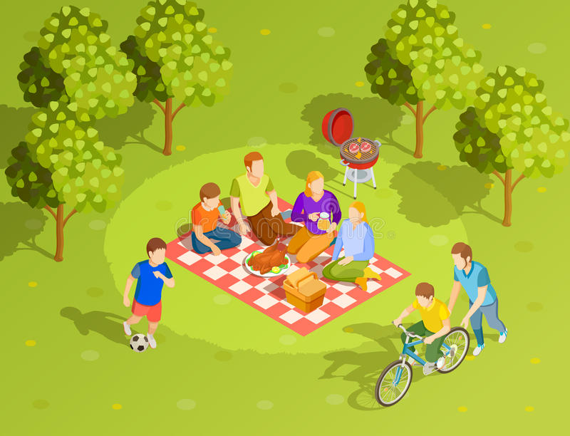Family Summer Countryside Picnic Isometric View vector illustration