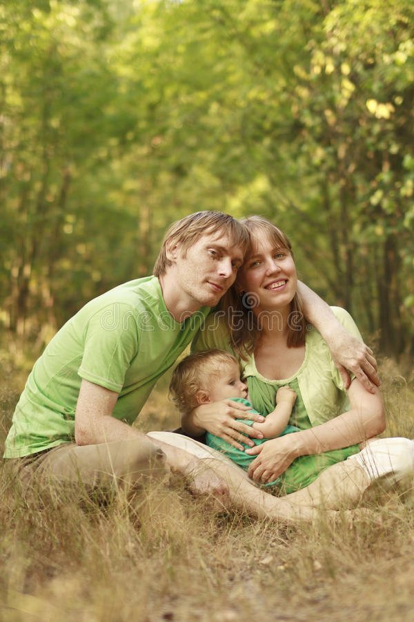 Family in summer nature royalty free stock images