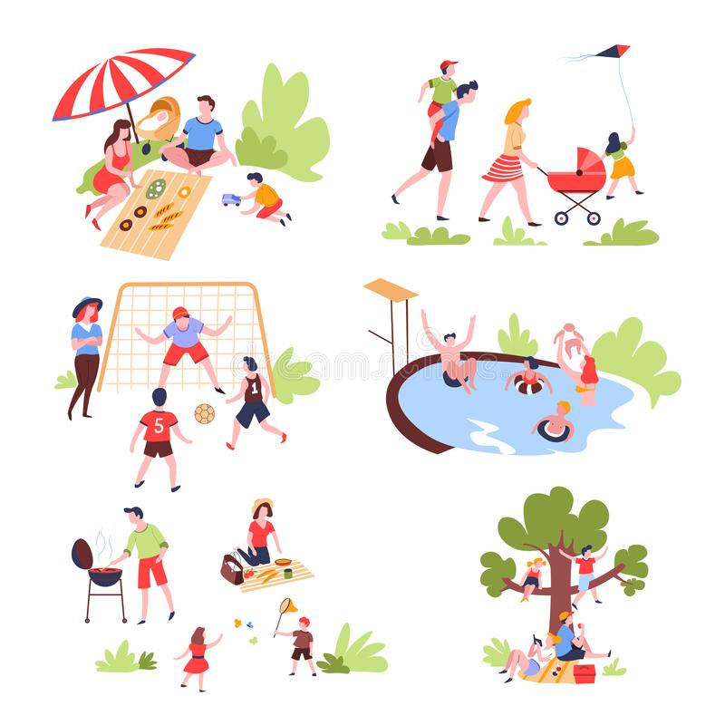 Family summer outdoor activity and recreation leisure. Summer outdoor activity and recreation family leisure vector pastime on nature picnic and walk football royalty free illustration