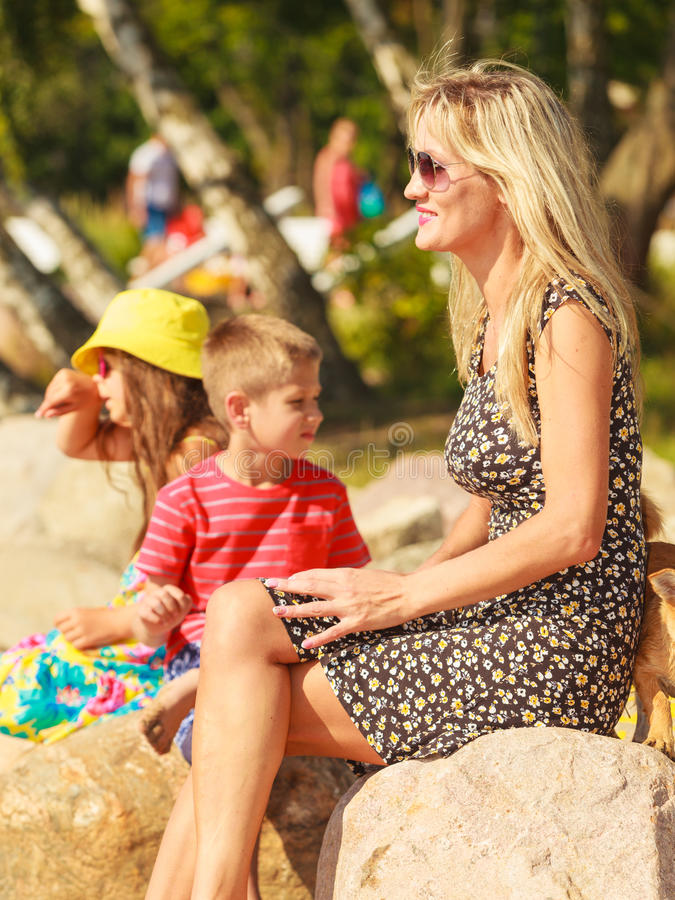 Family on summer trip. royalty free stock images