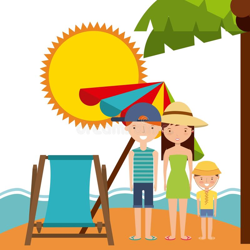 Family sun chair umbrella icon. Summer and vacation design. Summer and vacation concept represented by chair umbrella family sun icon. Colorfull and flat stock illustration