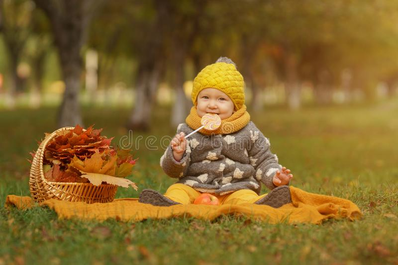 Family in sunny autumn park. Autumn mood. Small beautiful girl in stylish warm clothes sits on rug on the lawn with lollipop and apple next to basket full of stock photos