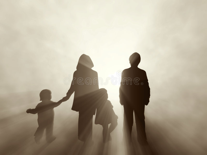Family at sunrise stock illustration