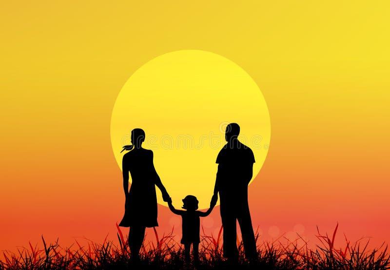 Family.Sunset feliz ilustração stock