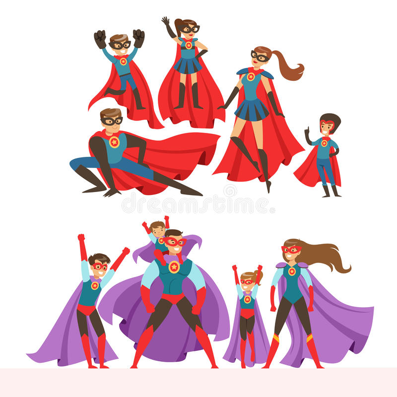 Family of superheroes set. Smiling parents and their children dressed in superheroes costumes colorful vector royalty free illustration
