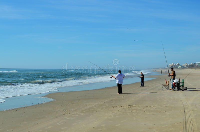 Family Surf Fishing Beach Ocean Water stock image