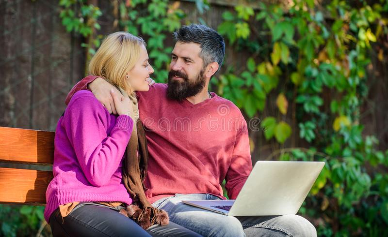 Family surfing internet for interesting content. Internet surfing concept. Couple in love notebook consume content. Surfing internet together. Couple with stock image