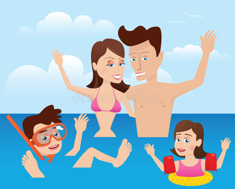 Family swimming in the sea stock images