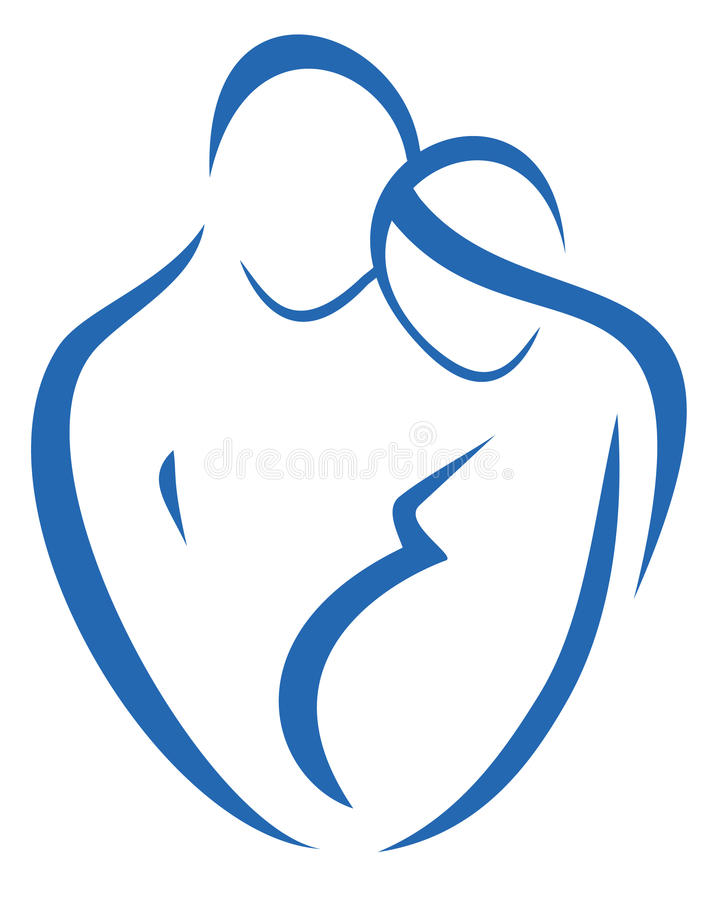 Family symbol, man and pregnant woman. Icon in simple lines royalty free illustration