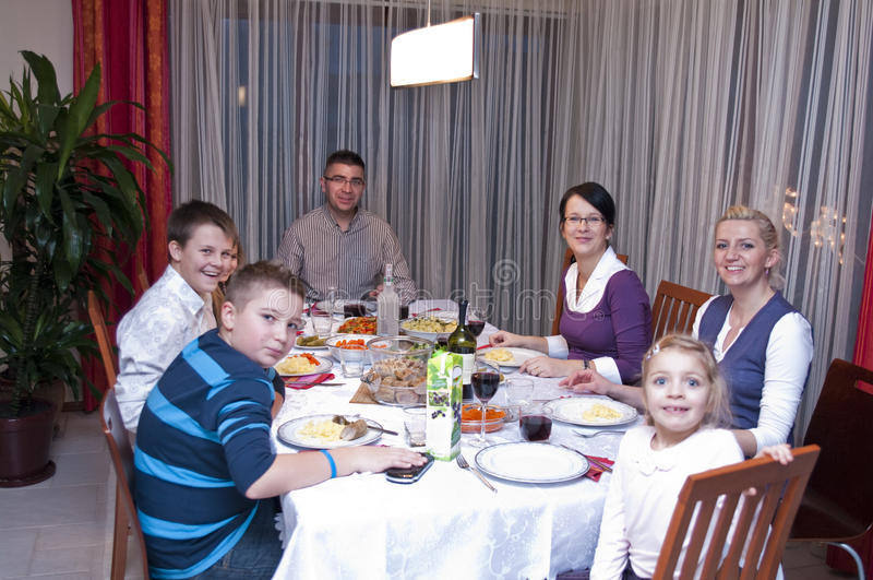 Family table dinner royalty free stock image