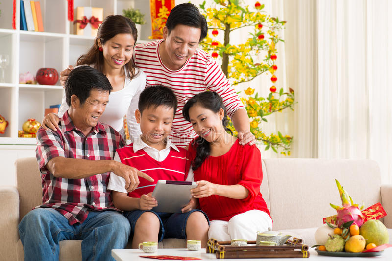 Family with tablet computer royalty free stock photo