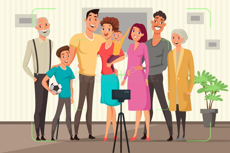 Family taking group photo vector illustration. Woman holding baby flat drawing. Cartoon characters in room together. Grandparents with children. Mother, father stock illustration