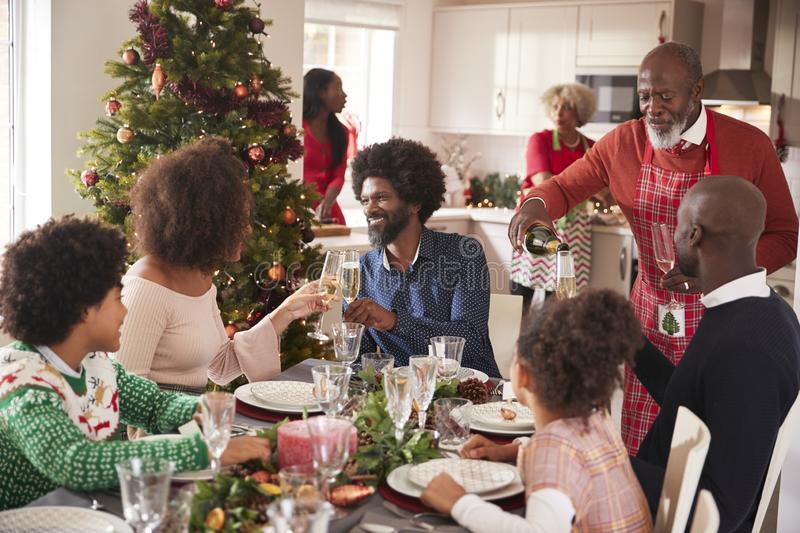 Family talking and raising glasses at the dinner table during a multi generation, mixed race family Christmas celebration stock photos