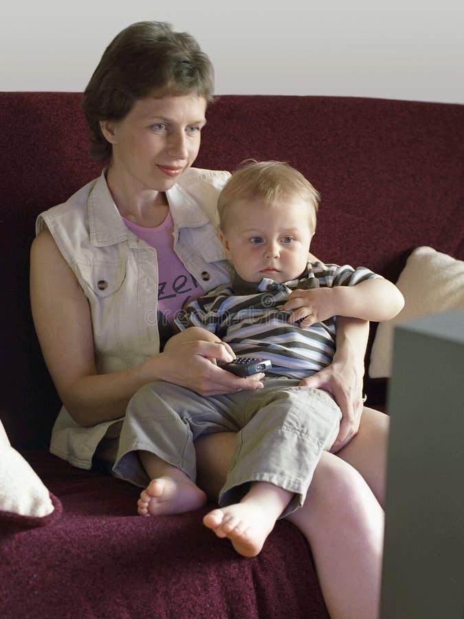 Family television stock photo