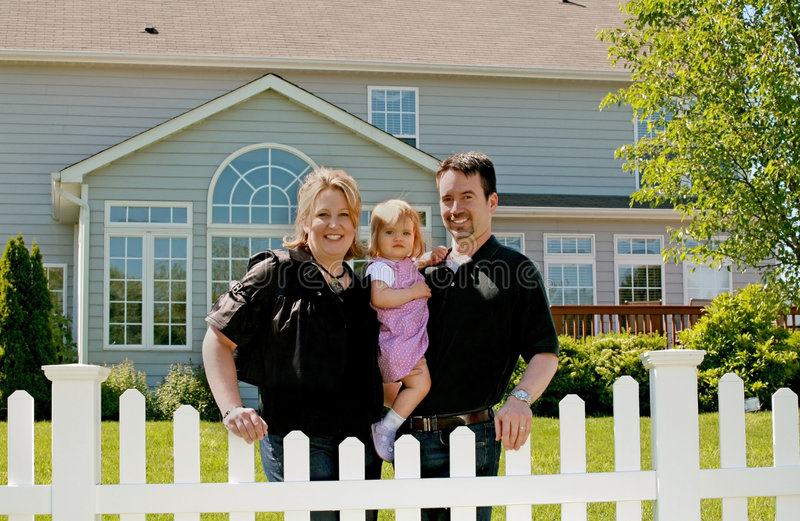 Download Family in their Backyard stock image. Image of girl, fence - 5666807