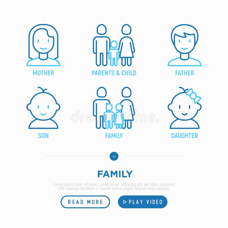 Family thin line icons set: mother, father, newborn, son, daughter. Vector illustration stock illustration