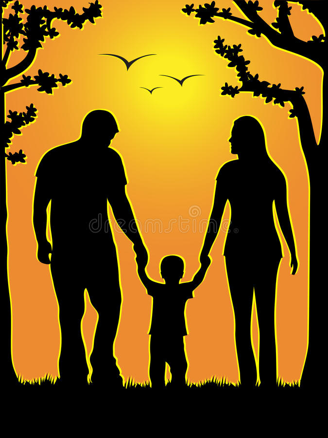 Download Family of three stock vector. Image of sunset, park, walking - 20412455