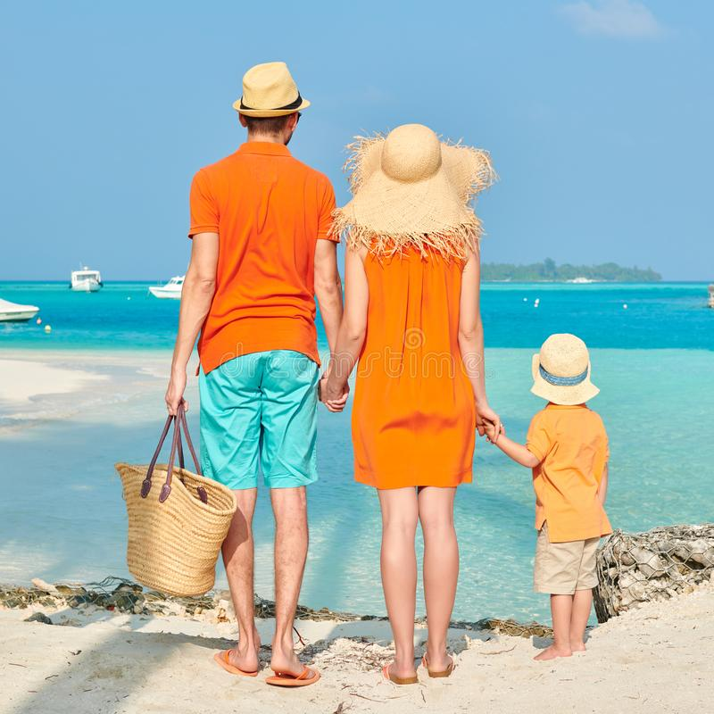 Family of three on beach under palm tree stock photo