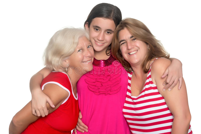 Family of three generations of hispanic women stock image