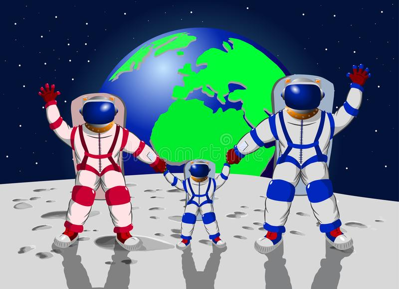 Family of three people in space suits against the background of planet earth. Vector illustration stock illustration