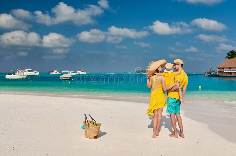 Family with three year old boy on beach stock photo
