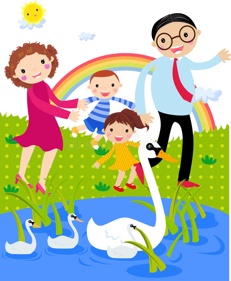 Family time stock illustration