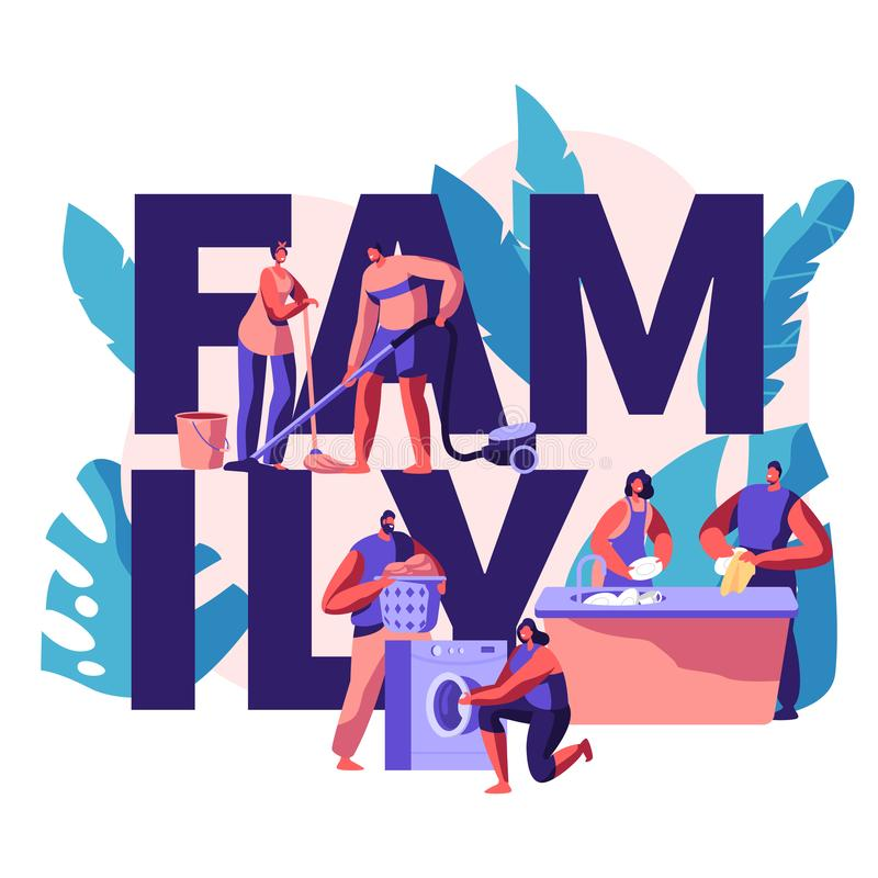 Family Time Banner. Housekeeping and Routine. Scrubwoman and Man Cleaning Dirty Clothes, Floor. Chores Domestic, Working. With Cleanliness Electronic Machine stock illustration