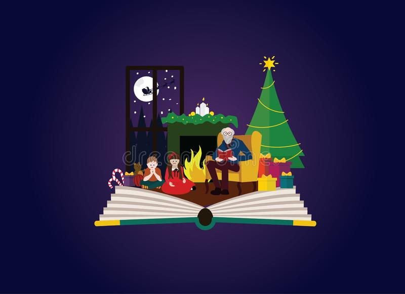 Family time at christmas. Grandpa dad reading book to children stock illustration
