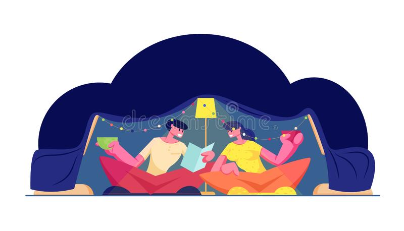 Family Time. Happy Loving Couple Having Fun Sitting in Dark Room at Home in Childrens Homemade Tent Reading Book vector illustration