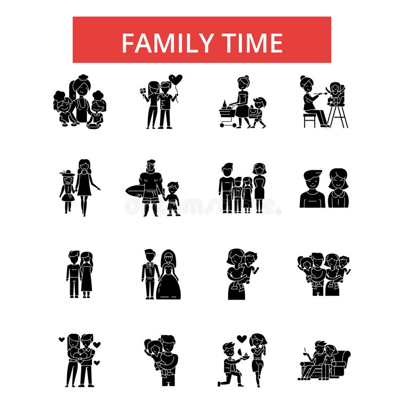 Family time illustration, thin line icons, linear flat signs, vector symbols. Family time illustration, thin line icons, linear flat signs, outline pictograms vector illustration
