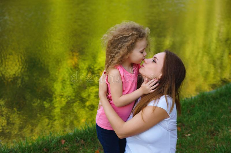 Family picnic. Mother and daughter royalty free stock photo