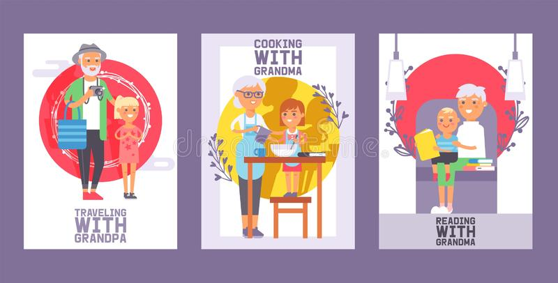Family time set of cards or posters vector illustration. Generation together for spending enjoying time. Kid traveling. Family time set of cards or posters vector illustration