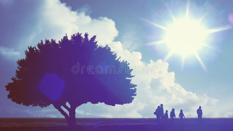 Family time, background. Silhouette of walking family under blue sky and cloud