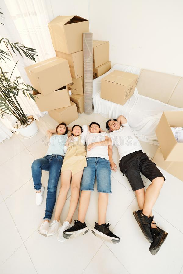 Family tired of packing stock photos