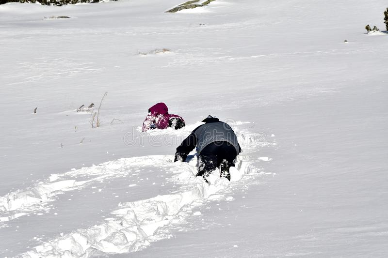 Family playing tumble on the snow in mountains. Family to climb and tumble on the snow in mountains royalty free stock photography