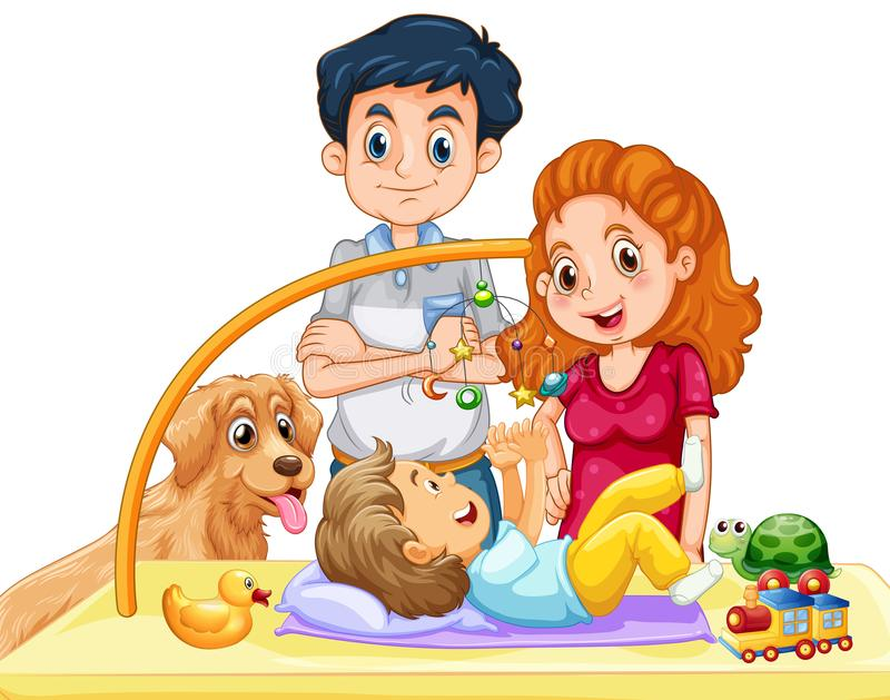Family with toddler and dog. Illustration stock illustration