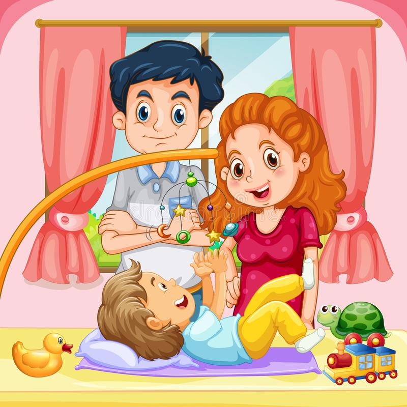 Family with toddler at home. Illustration royalty free illustration