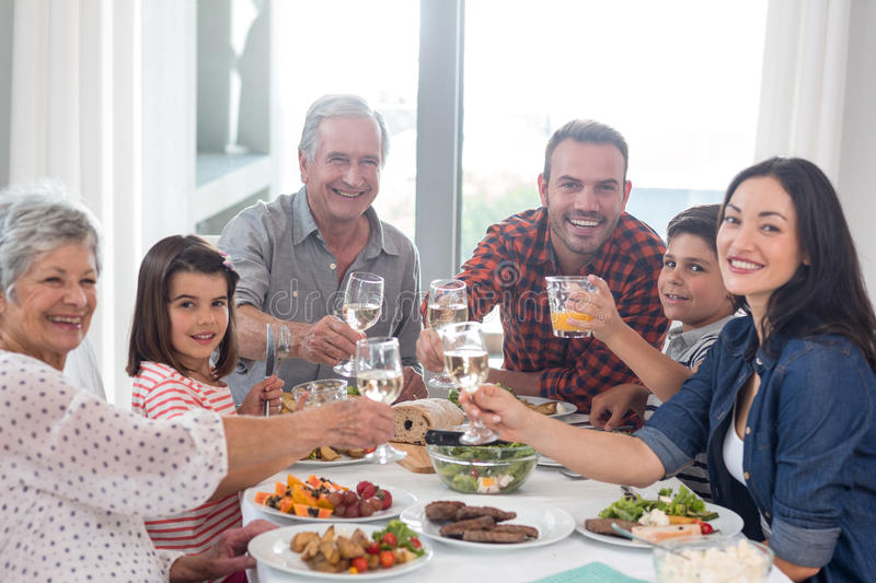 Family together having meal royalty free stock photography