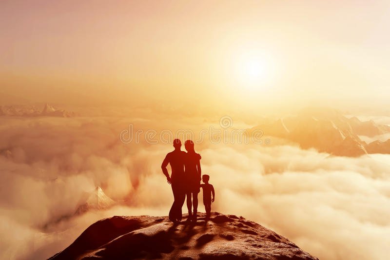 Family together on mountain looking on sunset cloudscape. Family of three standing together on mountain and looking on cloudscape horizon at sunset. Parents and royalty free stock images