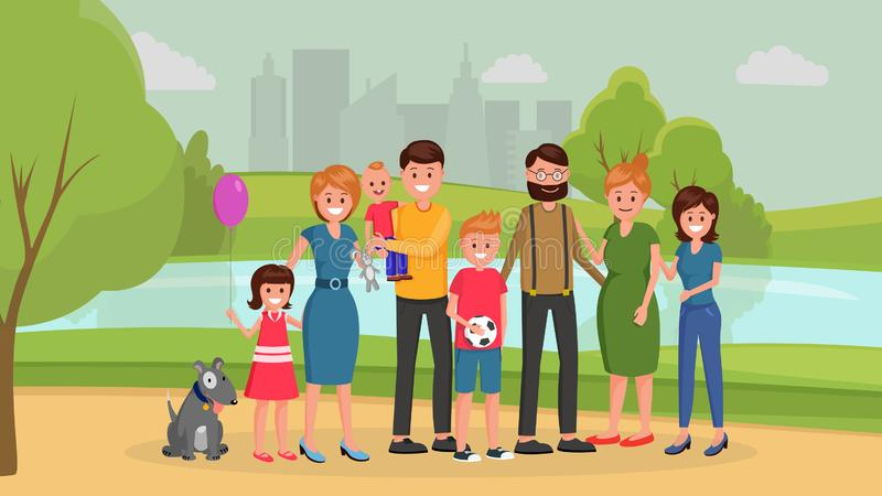 Family together in park royalty free illustration