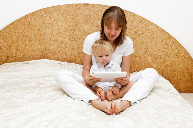 Download Family with touch pad stock image. Image of comfort, happy - 27025785