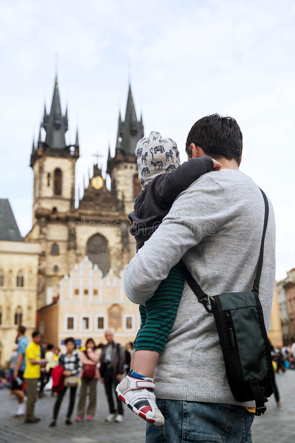 Family of Tourists in Prague, Czech Republic stock photography