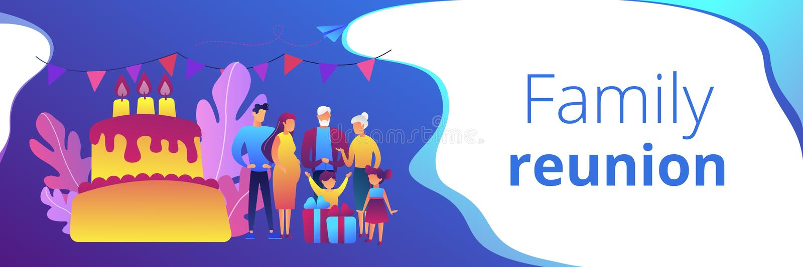 Family tradition concept banner header. Parents, grandparents and children with presents at big cake with celebrating, tiny people. Family tradition, family stock illustration