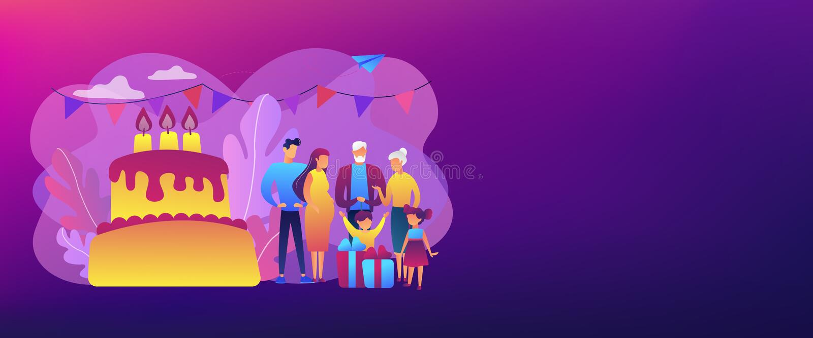 Family tradition concept banner header. Parents, grandparents and children with presents at big cake with celebrating, tiny people. Family tradition, family vector illustration