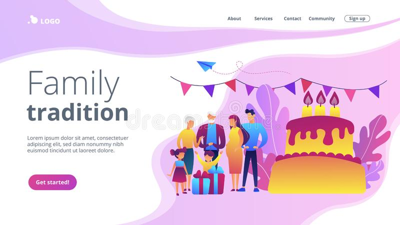 Family tradition concept landing page. Parents, grandparents and children with presents at big cake with celebrating, tiny people. Family tradition, family stock illustration
