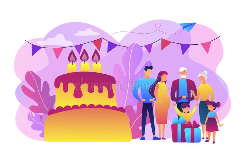 Family tradition concept vector illustration. Parents, grandparents and children with presents at big cake with celebrating, tiny people. Family tradition vector illustration