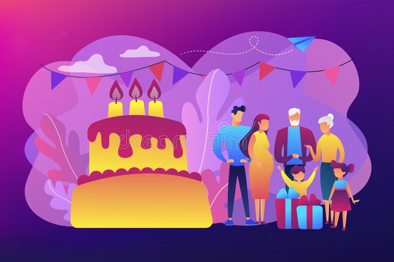 Family tradition concept vector illustration. Parents, grandparents and children with presents at big cake with celebrating, tiny people. Family tradition stock illustration