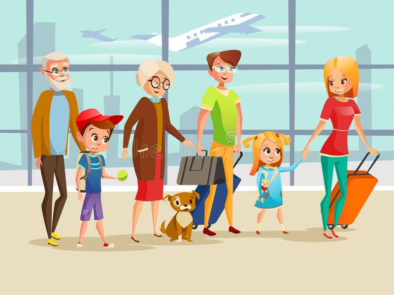 Family travel in airport vector illustration of kids, parents or grandparents and dog with traveling luggage for vector illustration