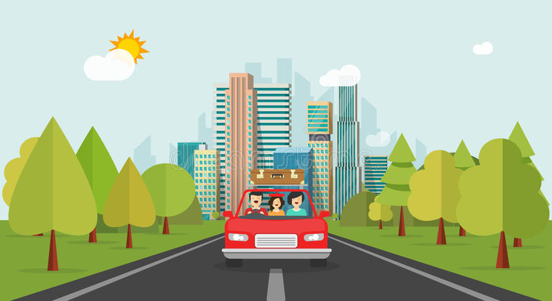 Family travel by car, flat cartoon style happy family with kid travelling together via automobile vector. Illustration, concept of people journey, summer stock illustration
